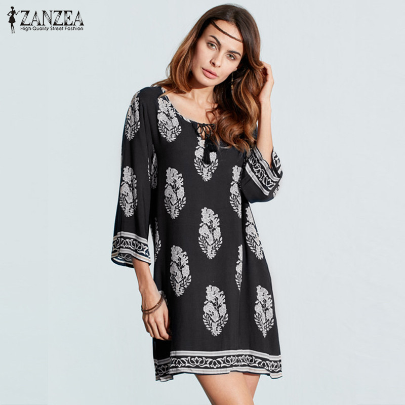 ZANZEA 2018 Womens Floral Print 3/4 Sleeve Retro Lace-up V Neck Tassel Loose Casual Beach Party Short Mini Dress Plus Size
