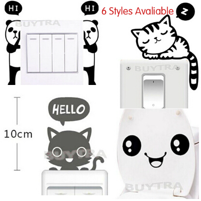 6 styles cartoon panda cat smile print wall stickers mini black switch stickers wall decor for kid bedroom parlor in wall stickers from home garden on
