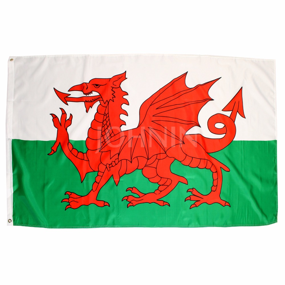 Johnin Hanging 90*150cm Red Dragon Wales Cymru Flag For Decoration