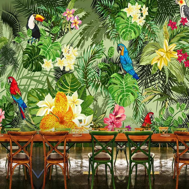 Custom 3d wallpaper for wall 3d southeast asian tropical for Asian mural wallpaper