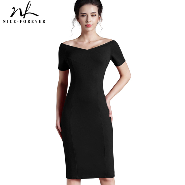 df8ccd43133 Nice-forever Casual Office Lady off Shoulder Solid Work Sexy V neck  knee-length