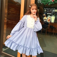 5f3d84ce46e Preppy Style Women Lolita Party Dress Contrast Color Lace Up Elegant Female  Vestidos Lantern Sleeve Kawaii