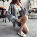 YiZiKKCO Brand Women Cardigan Sweater 2017 Spring New Knitted Cardigans High Quality Embroidery Pull Femme Jersey Mujer SZQ124