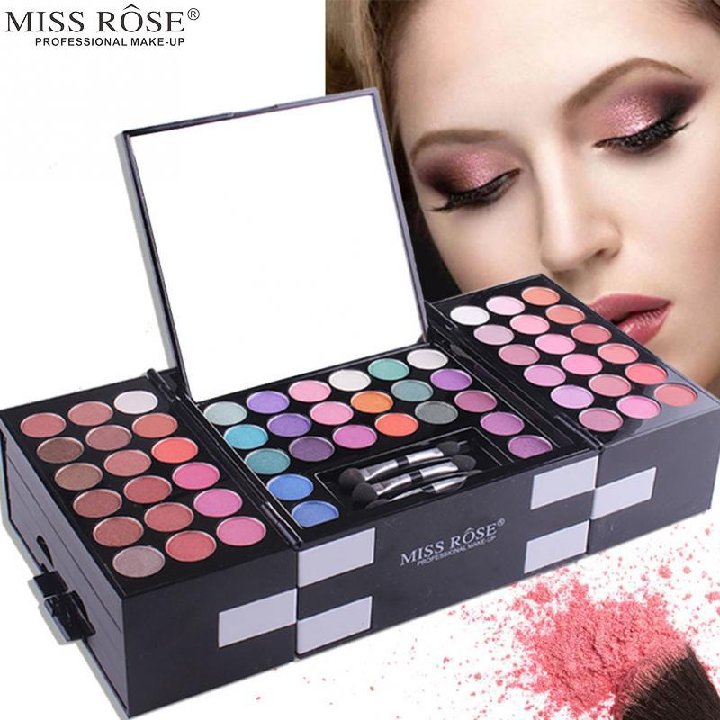MISS ROSE Professional 142 Colors Eyeshadow Waterproof 3-color Eye Shadow + 3-color Eyebrow Powder + Blush Palette Makeup Kit professional make up 144 color eye shadow 3 color blush 3 color eyebrow powder makeup set box