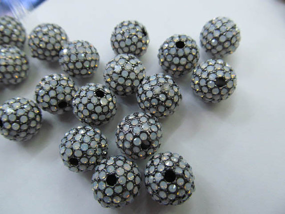 Top qualité 100 pièces 6 8 10 12mm Bling Pave opale cristal laiton entretoise boule ronde Gunmetal or Antique argent perles breloque - 3