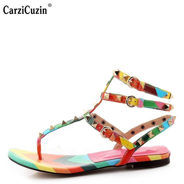 96ab2ff2853a67 Women Gladiator Sandals Fashion Multicolor Rivets Flat Sandals Woman Sexy Ankle  Strap Shoes Woman Size 35-46 B095