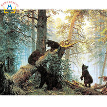 New home decor pictures on canvas diy oil painting by numbers drawing nodular pictures one the wall art animals black bear Y016(China)