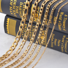 3.0mm(Width) Stainless Steel Necklace Women Pendant Necklace 3:1 Link Gold Figaro Chain Women Fashion Jewelry Wholesale