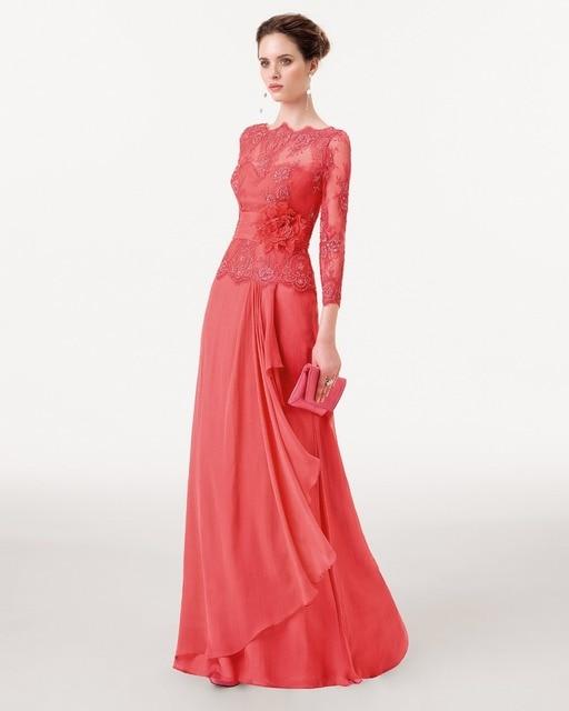 Formal Evening Gowns China Long Sleeve Vestidos De Festa Water Melon ...