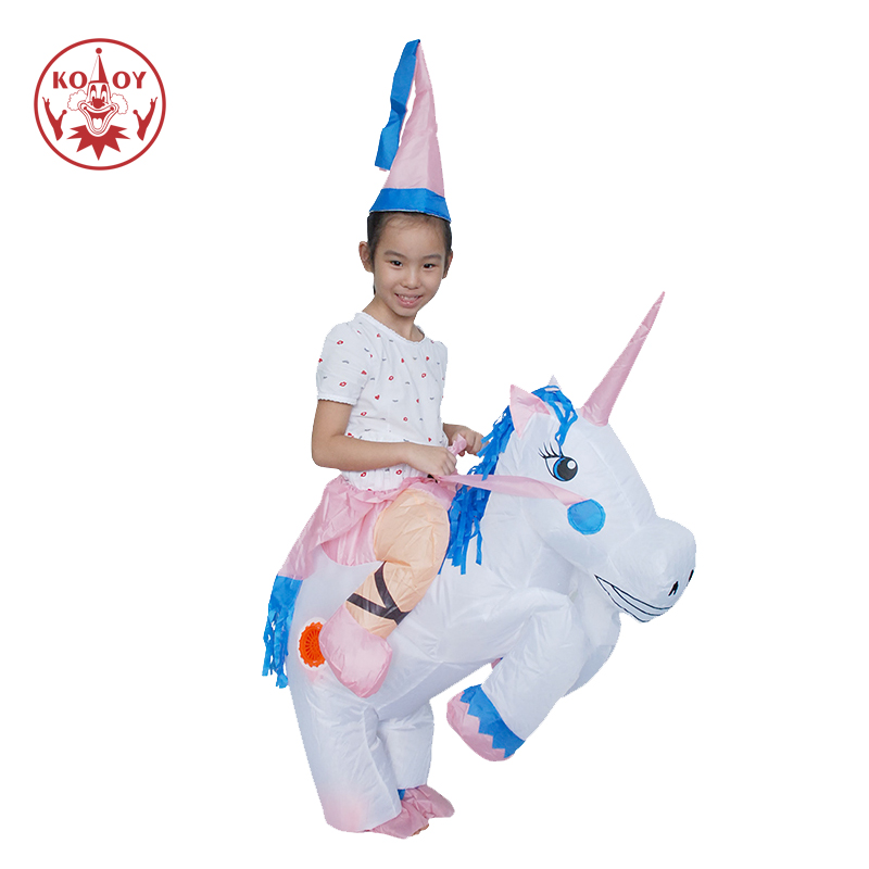 KOOY Factory Outlet Child Kids Funny Fancy Dress Inflatable Unicorn Costume Pegasus Costumes Holiday Party Dress up Animal
