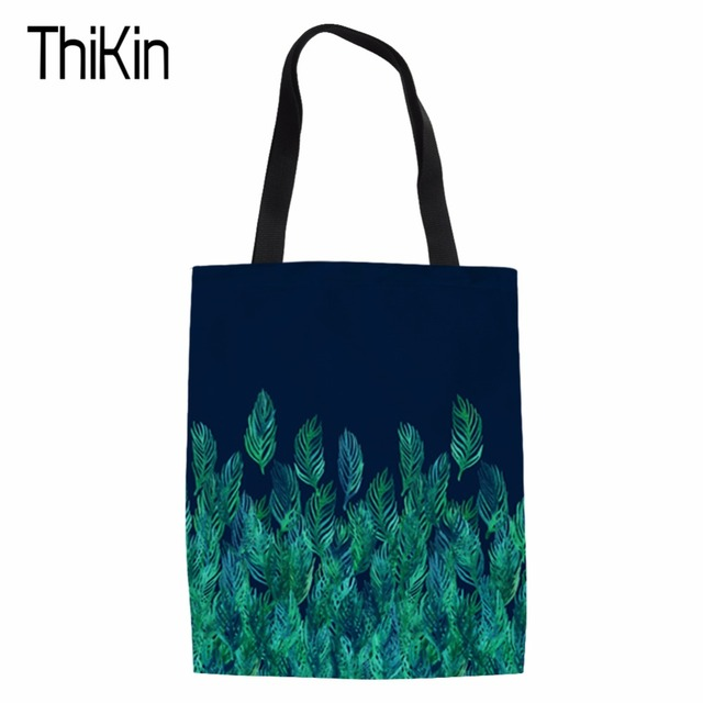 THIKIN Green Watercolor Leaves on Navy border Canvas Tote Bag Handmade Women Travel Folding long Shoulder Shopping Bags Handbags