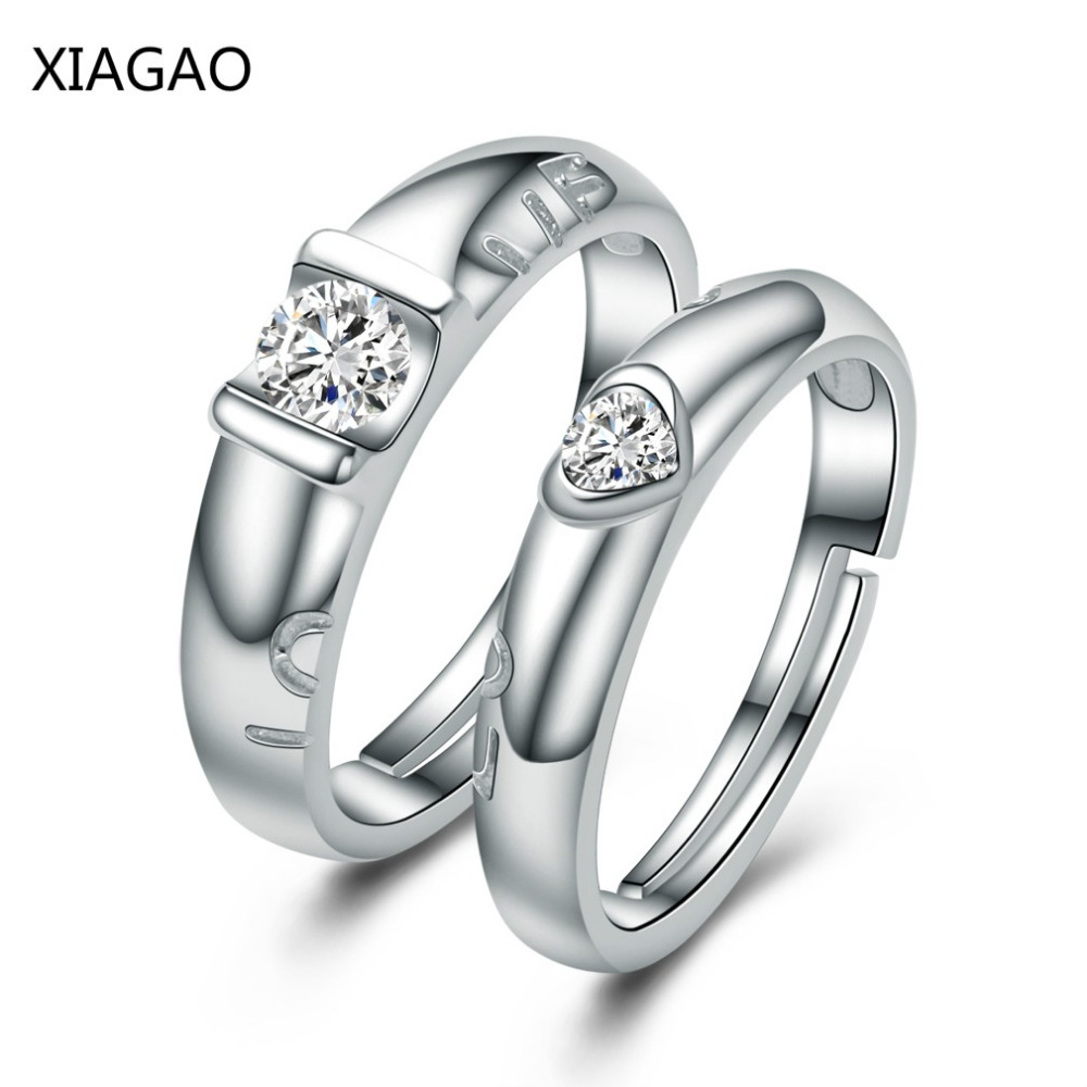 XIAGAO Anel Authentic Sterling-Silver-Jewelry Couple Rings Set Silver 925 Jewelry Ringen Wedding Engagement Ring AAA CZ I022 vanaxin 925 sterling silver rings for men jewelry iced out cz crystal anel masculino joias engagement wedding rings bague homme