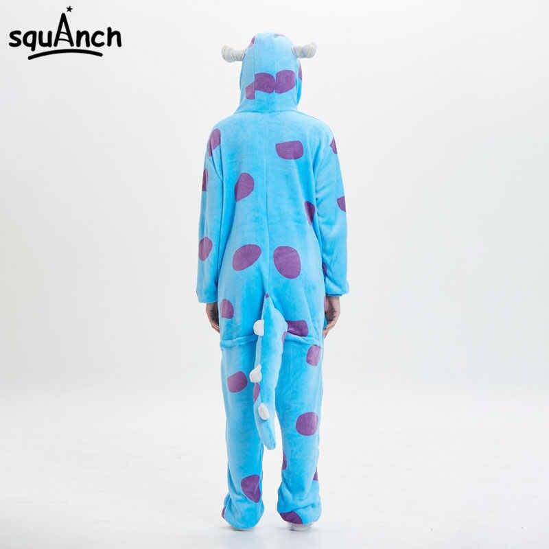 Kadınlar hayvan Onesie canavar Sullivan Kigurumis Sully pijama komik takım elbise yetişkin karikatür yumuşak sıcak tulum tulum Fantasias fantezi