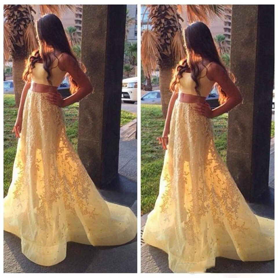 Elegant Lace Two Piece Prom Dresses Beaded Yellow Prom Dress Long ...