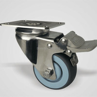 3 Inch Food Industry Polished Rig Grey Wheel Swivel Steel Plate Medical Caster