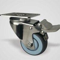 3 Inch Food Industry Polished Rig Grey Wheel Swivel Steel Plate Medical Caster
