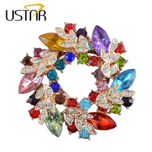 USTAR Crystals flower Silk Scarf brooches women pins Clip Buckle Hold gold color rhinestone broche christmas gifts top quality