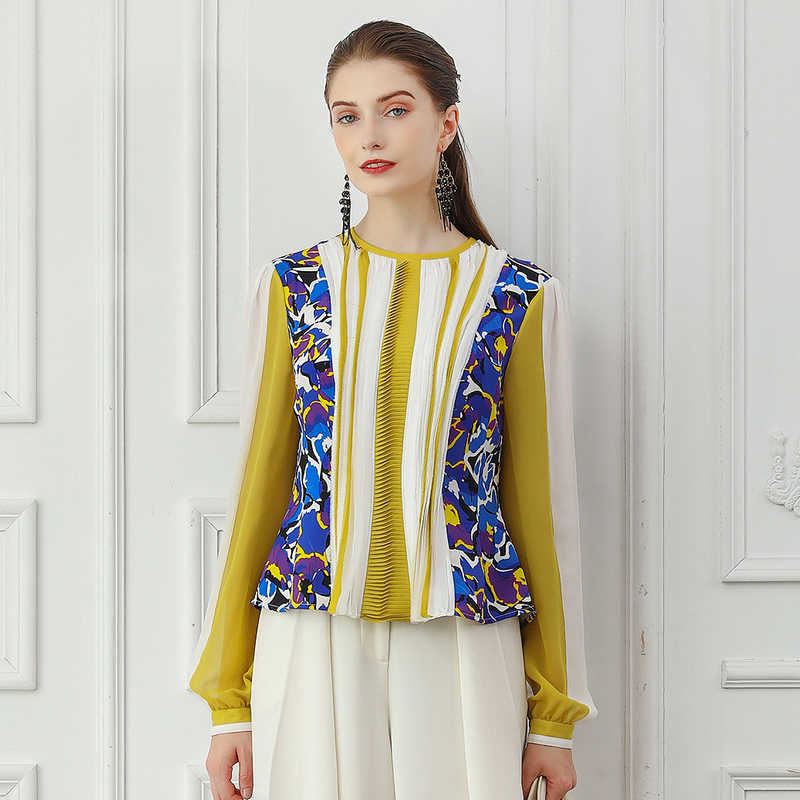 0be03b85 VOA Silk T Shirt Women Yellow Office Ladies Tops Fall Long Sleeve Tee  Printed Sweet Elegant