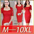 2016 estação Europeia super tamanho grande vestido de renda das mulheres novas do projeto meia manga gola quadrada vestido de slim plus size 7XL 8XL 9XL