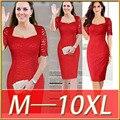 2016 estación Europeo super gran tamaño del vestido del cordón del nuevo diseño square collar media manga vestido delgado más el tamaño 7XL 8XL 9XL
