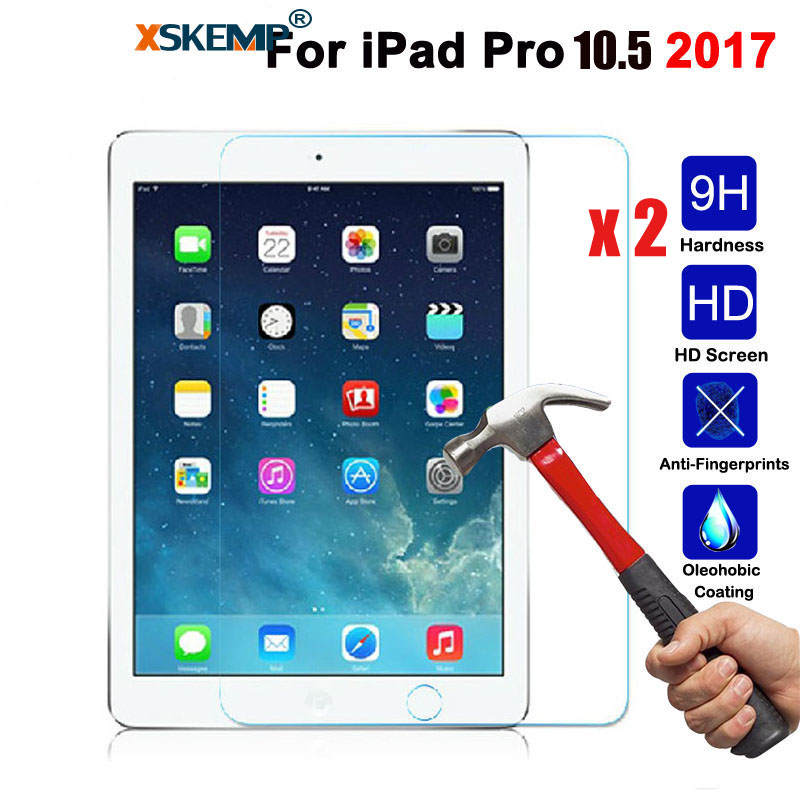 XSKEMP 2Pcs/Lot Transparent Tablet Tempered Glass For Apple iPad Mini 2 3 4 Air Screen Protector Film For iPad Pro 9.7 10.5 2017 tempered glass for apple ipad 2 3 4 pro 9 7 10 5 air1 air2 mini1 mini2 mini3 mini4 screen protector 9h toughened protective