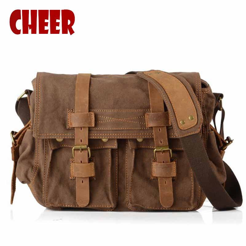 Men's shoulder bags briefcase handbag canvas laptop bags men's messenger bag Vintage Casual Crossbody High capacity travel bag canvas leather crossbody bag men briefcase military army vintage messenger bags shoulder bag casual travel bags