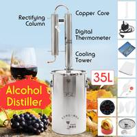 35L Distiller Stainless Steel Moonshine Alcohol Wine Beer Water Brewing Boiler DIY Home Kitchen Brew Kit