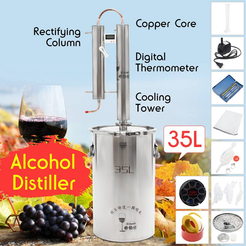 35L Distiller Stainless Steel Moonshine Alcohol Wine Beer Water Brewing Boiler DIY Home Kitchen Brew Kit