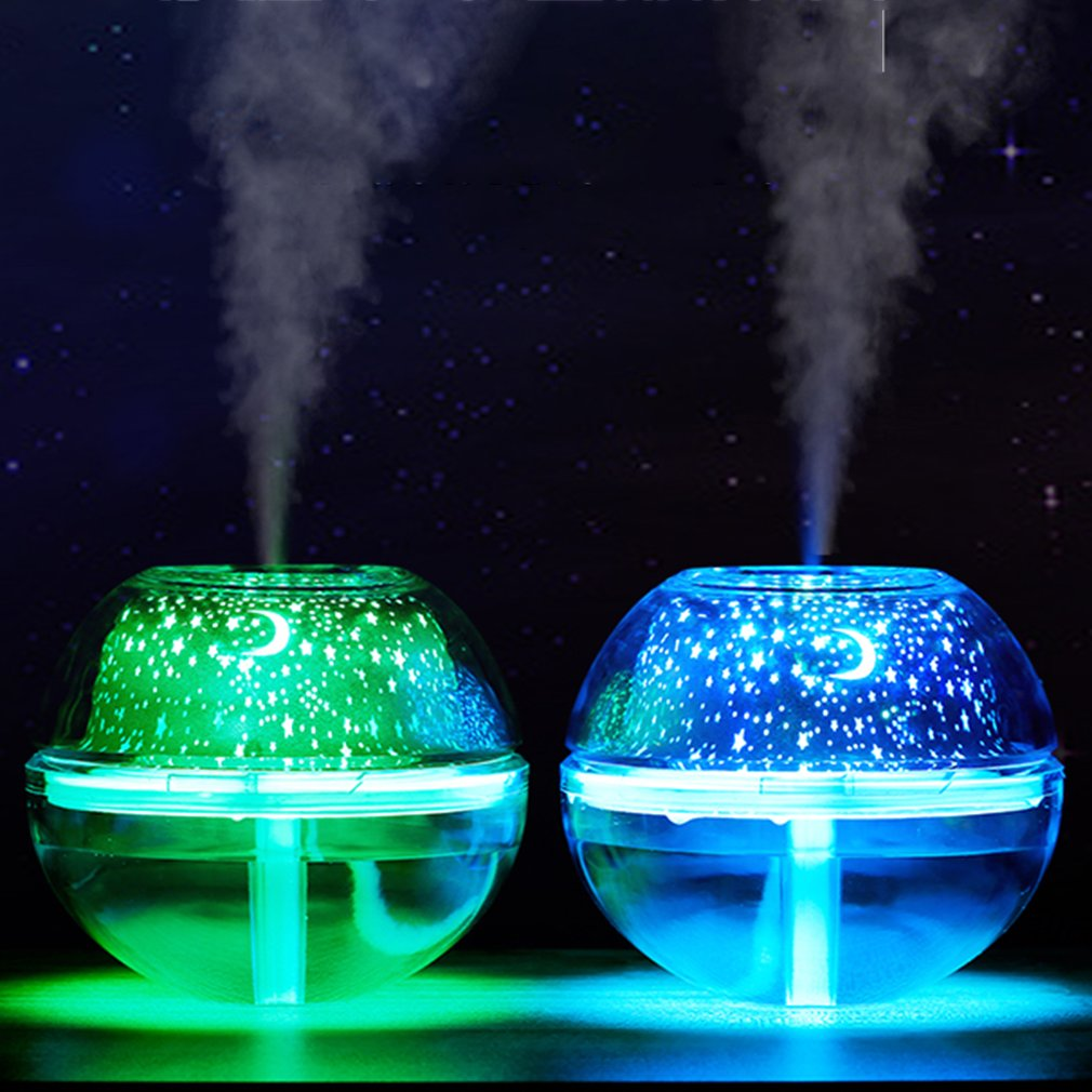 все цены на USB Air Humidifier Essential Oil Diffuser LED Projector Light Crystal Night Lamp Mini Portable Home Humidifier