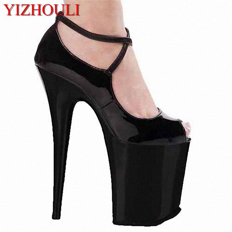 Hauts Cm partie Pu Des Plate Classique Talons Chaussures Hauts Simples Robe Super À 20 Cheville forme Femmes Noir Sangle q6xqAFf8