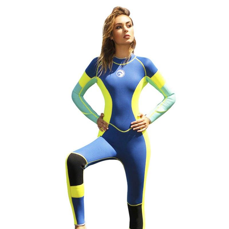 Hisea néoprène femmes combinaison Patchwork une pièce à manches longues combinaison de plongée 3 MM garder au chaud prévenir méduses plongée en apnée combinaison de surf
