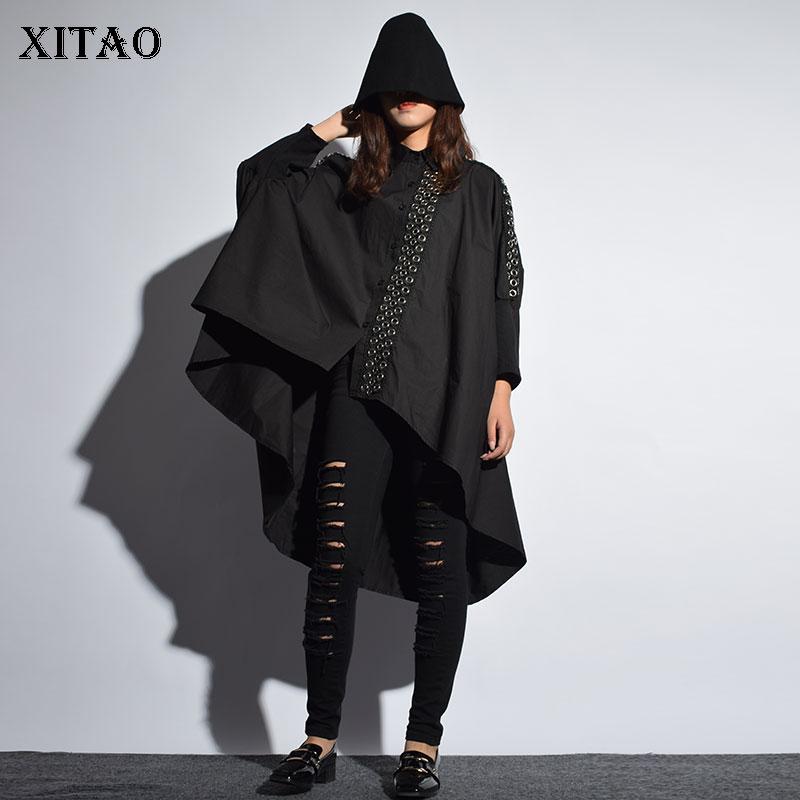 [XITAO] Europe Street 2018 New Autumn Women Single Breasted Loose Irregular Coat Female Metal Ring Decoration Trench LJT3535