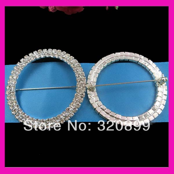 50mm Double Rows Crystal Rhinestone Chair Sash Buckles Wedding Ribbon With Pin Whole