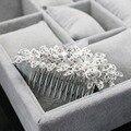 Wholesale Trendy  Hairwear Wedding Tiara Sparkling Silver Plated Crystal Pearl Bridal Hair Combs Hair Jewelry Hair Accessories