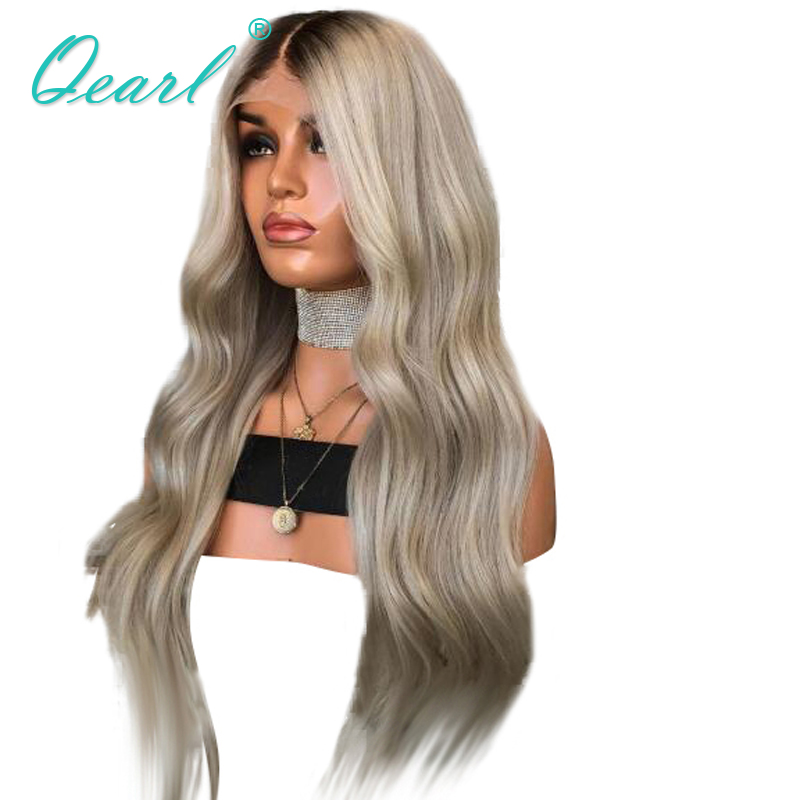 Ombre Ash Blonde Grey with Dark Roots Brazilian Hair Lace Front Wig 13x4 Remy Natural Wave