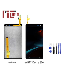 LCD Display For HTC Desire 600 Touch Screen Digitizer Panel Glass Sensor Monitor Screen Module Full Assembly Black 100% Test black for htc desire x t328e lcd display screen with touch screen panel digitizer assembly high quality with free tools
