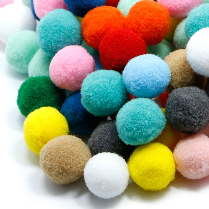 100 Pcs DIY Crafts Colourful Mini Fluffy Pom Poms Ball Felt 10mm 20mm 30mm