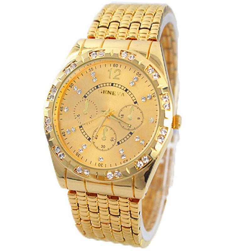 シルバー&ゴールドメンズウォッチトップブランドの高級時計ダイヤモンドメタルストラップアナログクォーツ時間ファッション腕時計レロジオMasculinoчасыметаллическиемужские