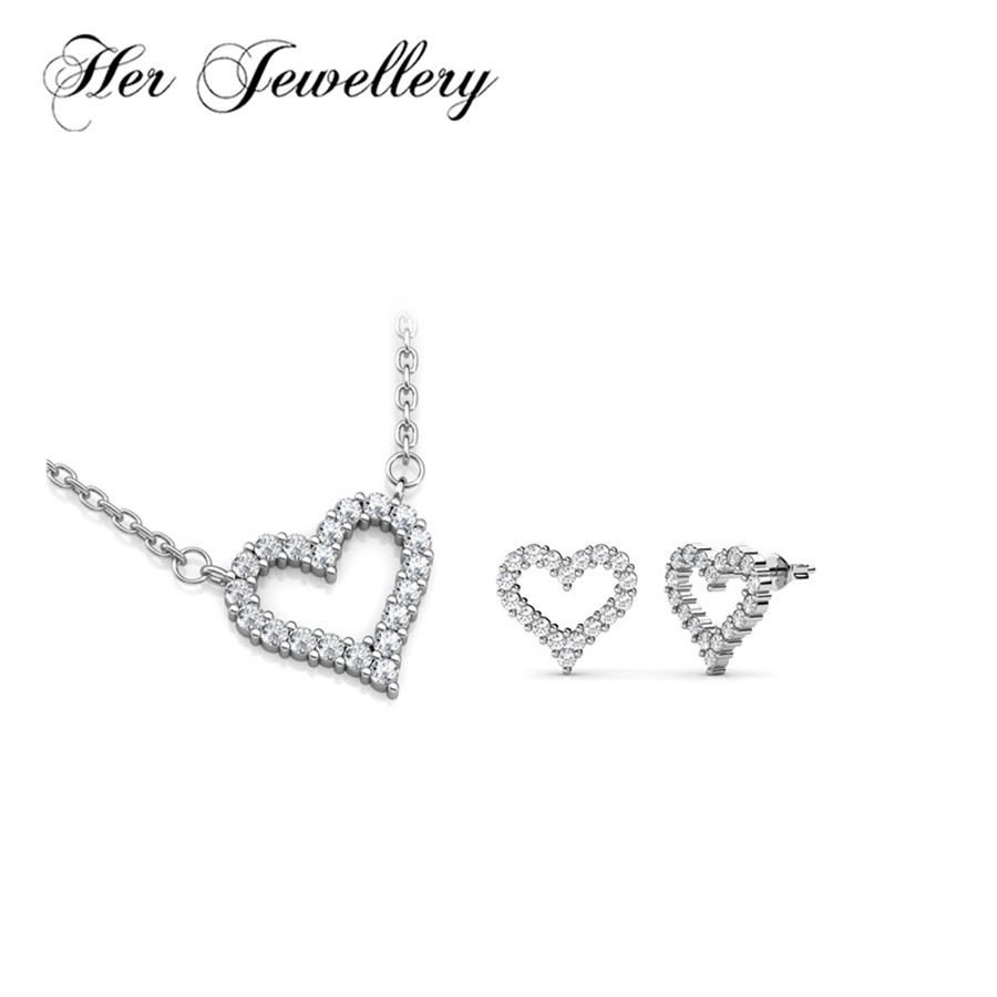 Cadeau de ses amoureux de bijoux ensemble de bijoux coeur boucles d'oreilles et collier pendentif bijoux faits avec des cristaux de Swarovski HS077