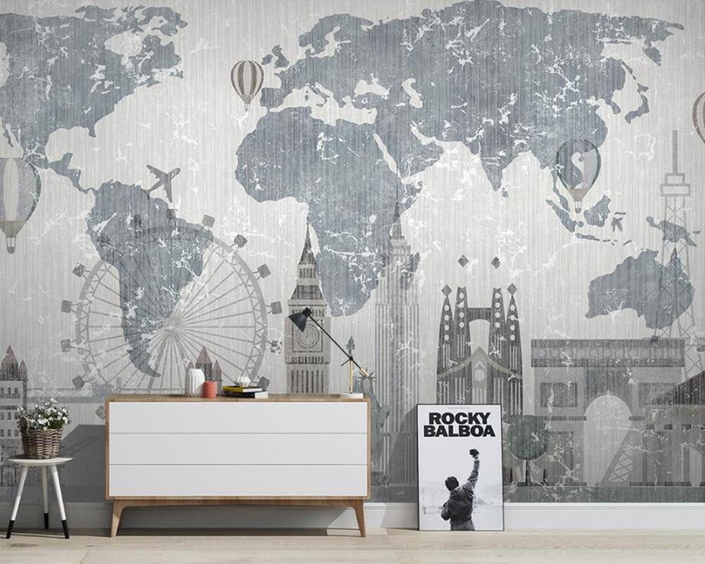 Carte du monde ville bâtiment liberty déesse papier peint mural papel de parede, salon tv canapé mur chambre papiers muraux décor à la maison