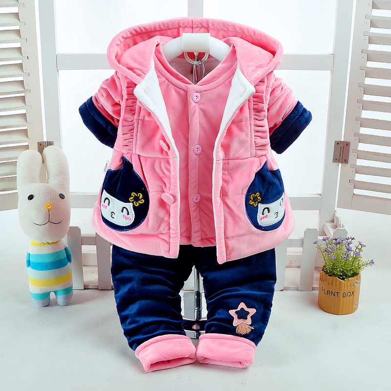 Newborn Baby Girls Clothing Set Infant Baby Tracksuits for Girls Kids Fall Clothes Casual Suits Spring Girls Hooded Clothing Set