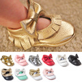 ROMIRUS Latest 12 Color Handmade Baby Moccasins Soft Bottom Butterfly-knot Baby Shoes Tassels Baby Prewalkers Shoes