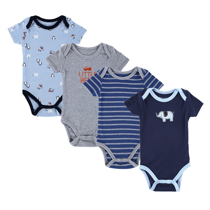 4PCS Baby Brand Boy Girl Bodysuits Short Sleeve Striped Style Newborn Clothes Bodysuits & One-Pieces Baby Clothig Color Blue (1)