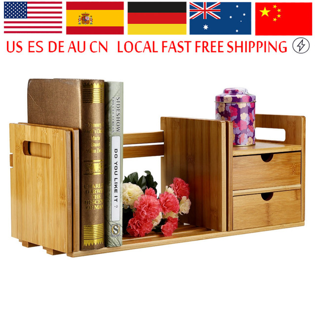 Natural Bamboo Wood Desktop Book Rack Minimalist Modern Easy Shelves Small Office Children Storage