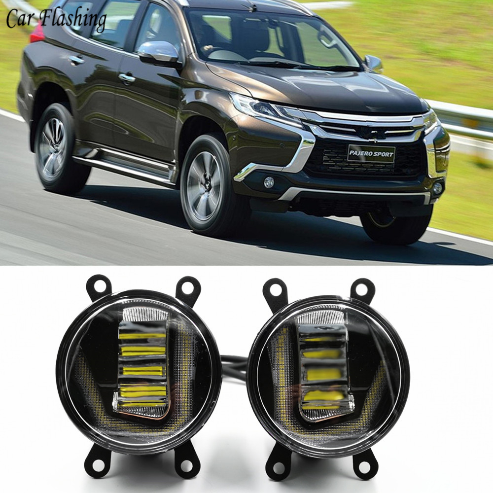3 IN 1 Functions DRL Daytime Running Light Projector Fog Lamp with yellow signal For Mitsubishi