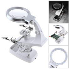 3X / 4.5X Desktop Multifunctional Welding Magnifier USB 360 Rotation Lens Tool with Alligator Clip Holder Clamp and 10 LED Light