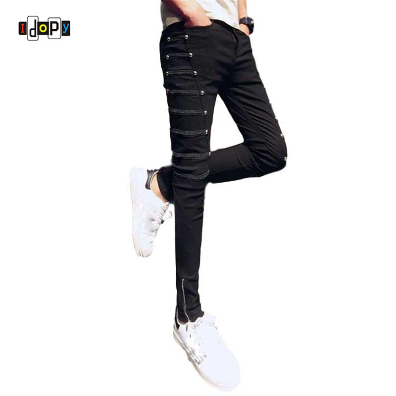 Idopy Fashion Slim Fit Pants Punk Style Black Patchwork Stretchy Zippers Dance Night Club Gothic Button Jeans Trouser For Men