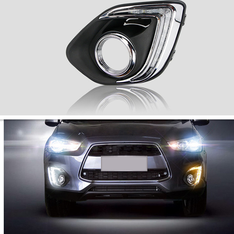 Newest! Daytime Running Light With Fog Lamp Hole For Mitsubishi ASX 2013 2014 LED DRL Turn Signal Light And Dimming Style Relay led drl day lights for mitsubishi asx 2013 2014 2015 daytime running light driving fog run lamp with yellow turn signal