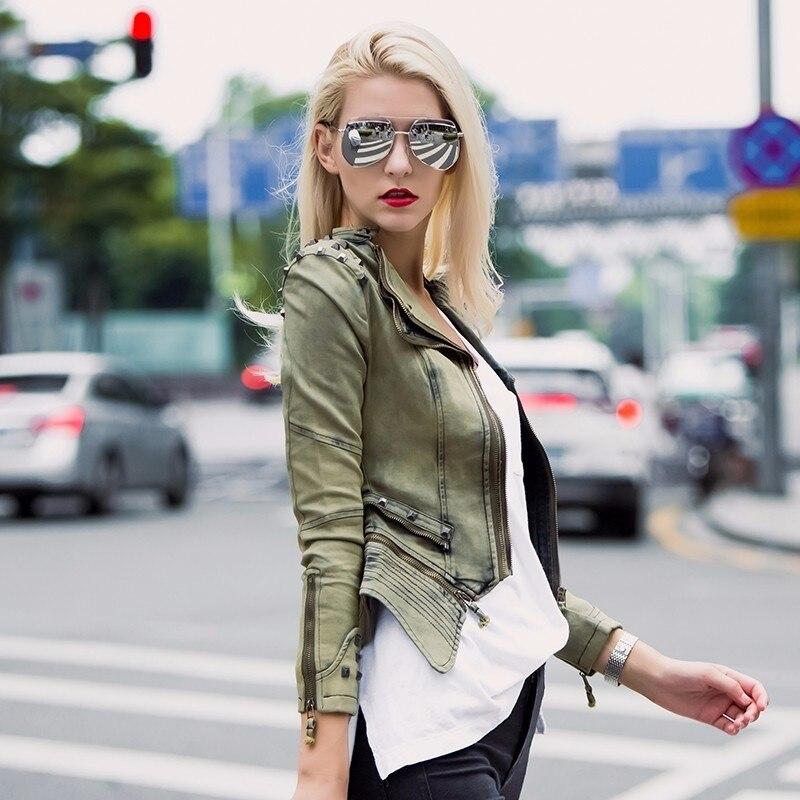 Tentar Tudo O Revestimento Da Motocicleta Das Mulheres 2019 Moda Silm Jaqueta de Rebite Denim Feminino de Punk Rock Do Vintage Senhoras Jaqueta Jeans de Algodão