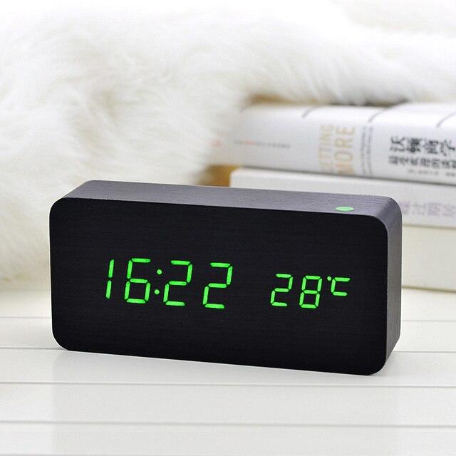 Деревянные светодиодный Будильник с Температура звуки Управление Календари LED Дисплей электронный настольный цифровой Настольный Часы